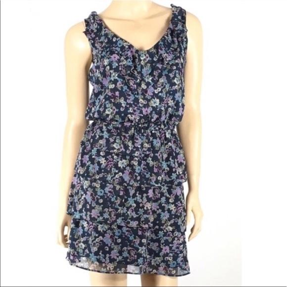 Xhilaration Dresses & Skirts - Xhilaration Blue Floral Ruffle Sleeveless Dress